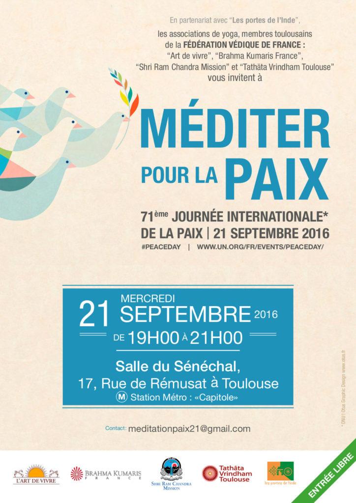 Méditations pour la Paix le 21 septembre 2016, journée internationale de la Paix de l'ONU.